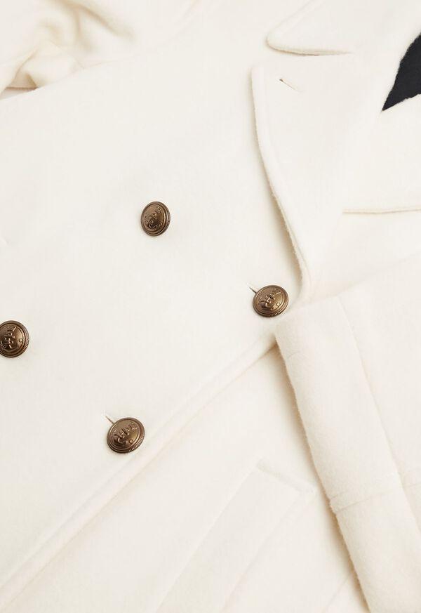 Long Wool Blend Ivory Peacoat, image 3
