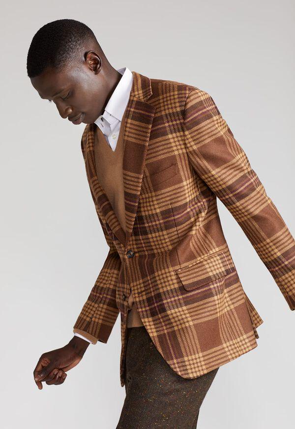 Soft Shoulder Wool Blend Plaid Sport Jacket, image 5