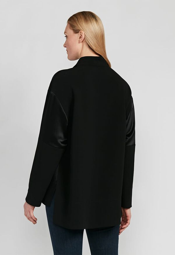 Crepe Zip Front with Contrast Sleeves Top, image 2
