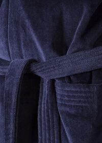 Navy Terry Cotton Velour Robe, thumbnail 2