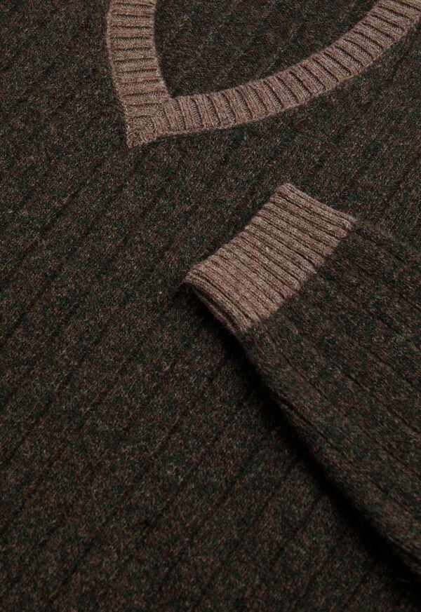 Ribbed V-Neck Sweater, image 2