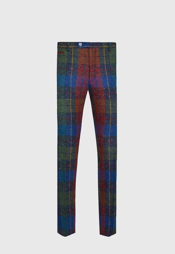 Red and Blue Plaid Plain Front Pant, image 1