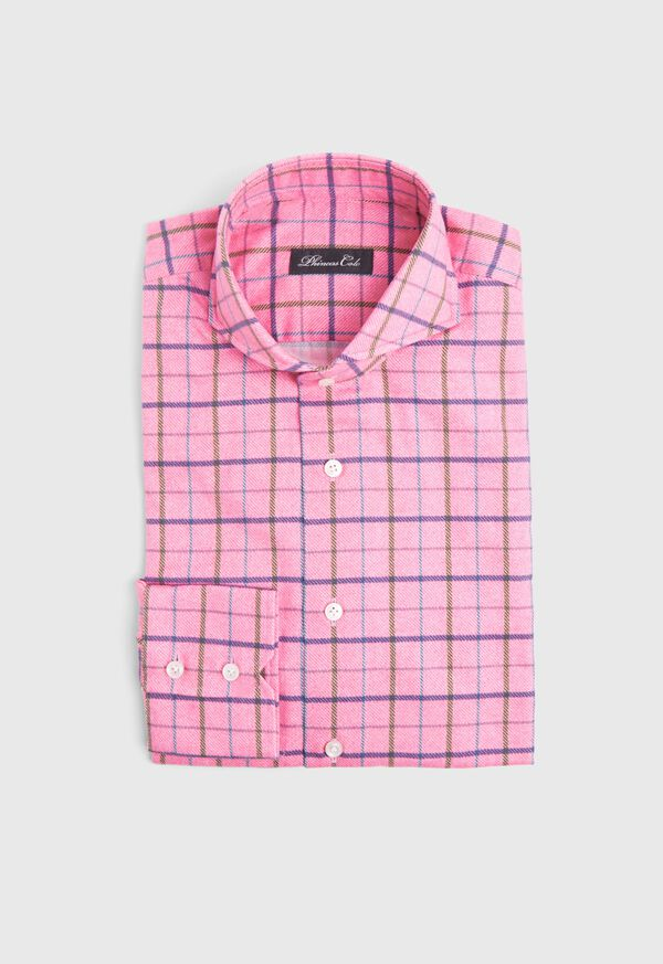 Brushed Cotton Printed Plaid Sport Shirt, image 1