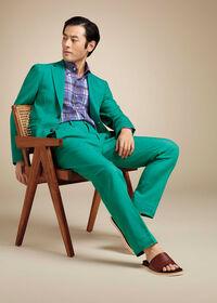 Green Cotton Blend Denim Jacket, thumbnail 3