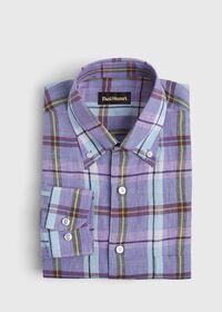 Linen Mint/Lavender Plaid Sport Shirt, thumbnail 1