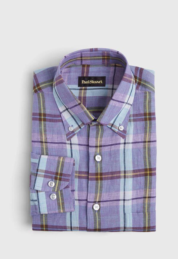 Linen Mint/Lavender Plaid Sport Shirt