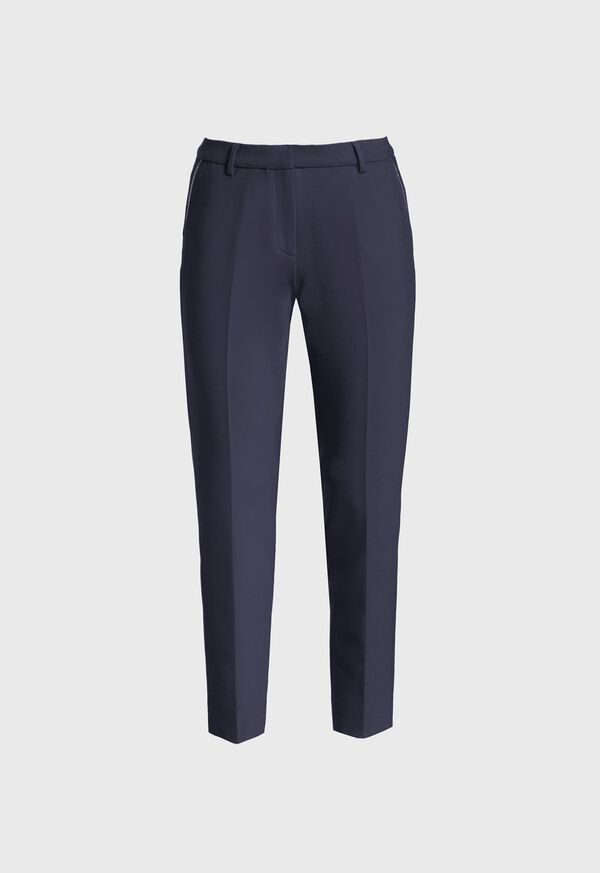 Wool Blend Trouser with Metallic Detail, image 1