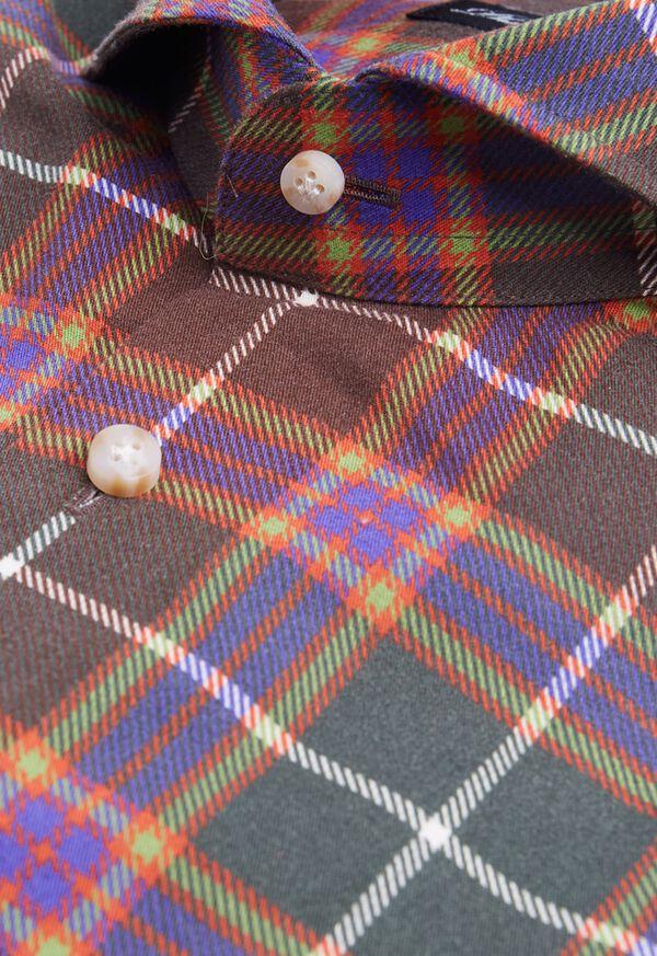 Cotton Printed Plaid Sport Shirt, image 2