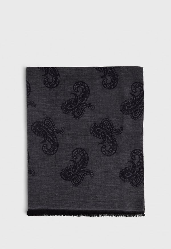 Jacquard Paisley Wool Blend Scarf, image 2