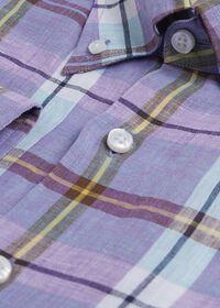 Linen Mint/Lavender Plaid Sport Shirt, thumbnail 4