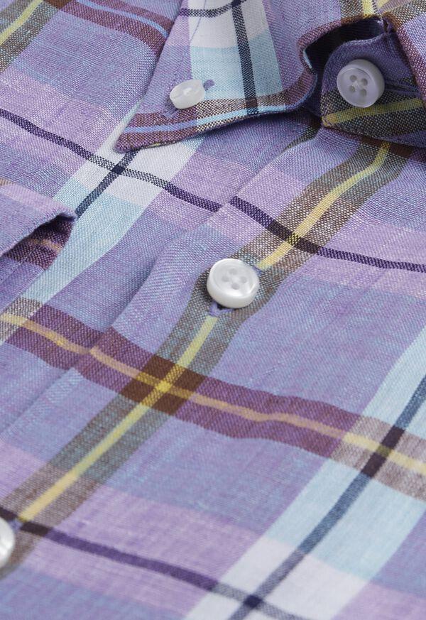 Linen Mint/Lavender Plaid Sport Shirt, image 4