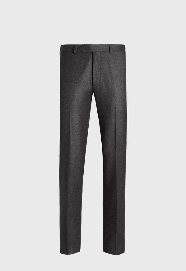 Wool and Cashmere Flannel Plain Front Trouser, image 1
