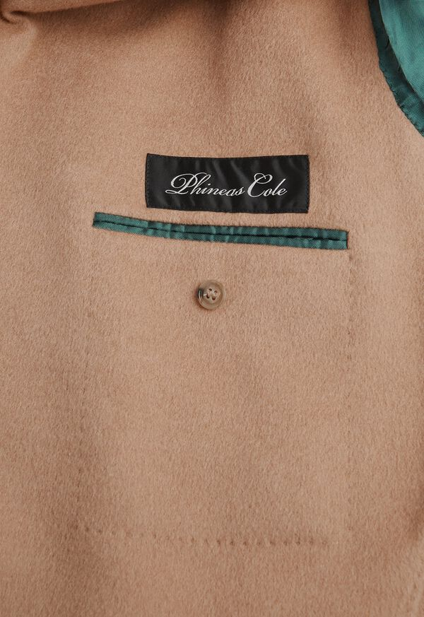 Camel Hair Double Breasted Short Coat, image 3