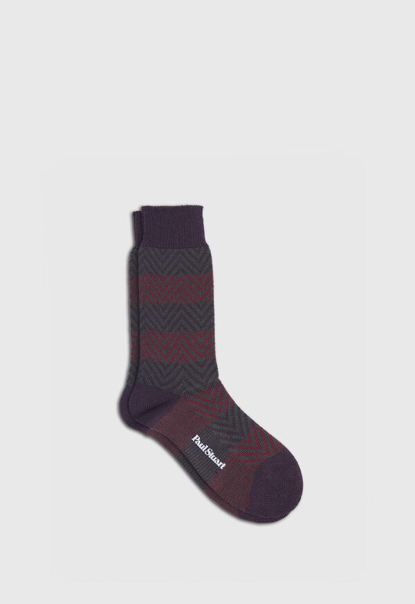 Wool Blend Chevron Stripe Sock, image 1