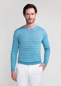 Linen and Silk Striped Crewneck Sweater, thumbnail 1