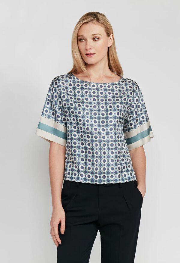 Geometrical Print Silk Blouse, image 1