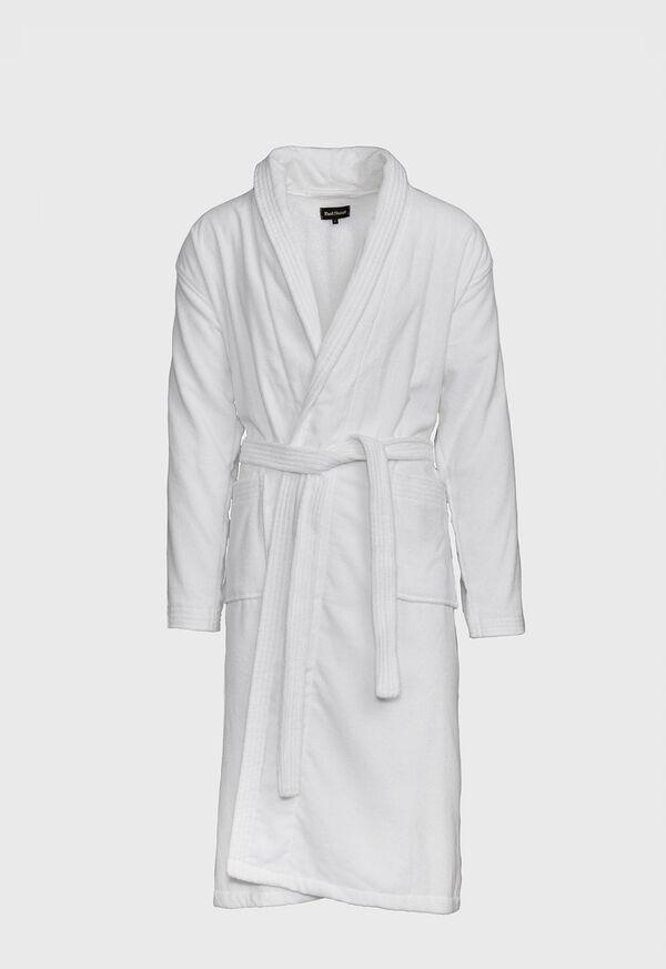 Navy Terry Cotton Velour Robe, image 1