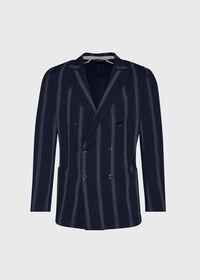 Navy/White Deco Stripe Soft Jacket, thumbnail 1