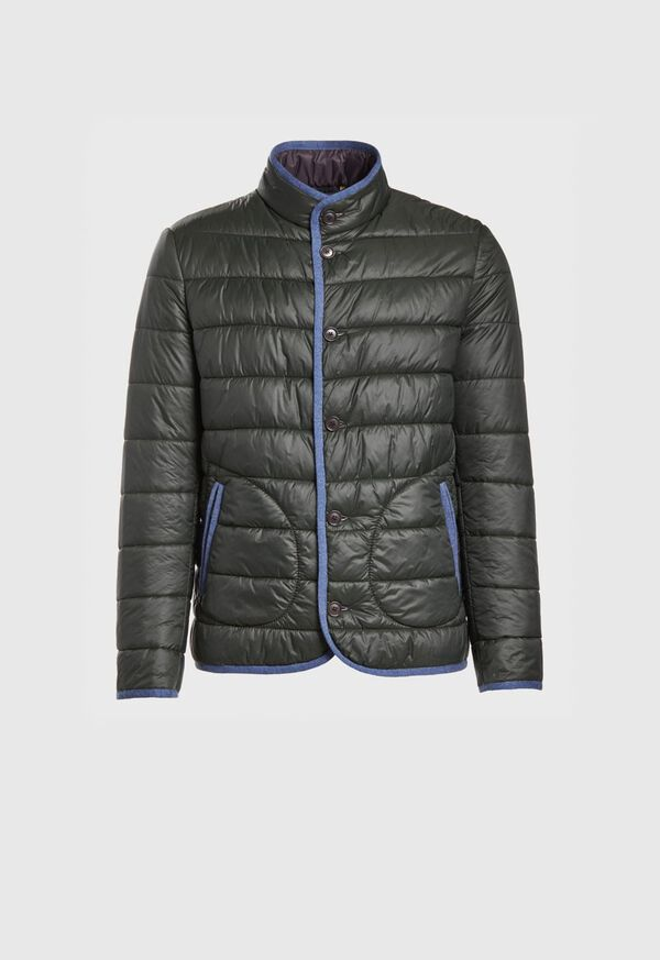 Nylon Quilted Coat With Contrast Piping, image 1