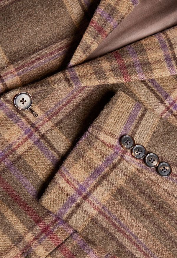 Oatmeal and Rose Wool Blend Plaid Sport Jacket, image 3