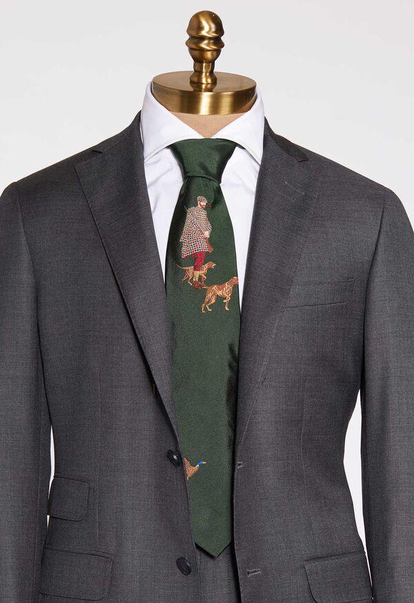 Hunting Man and Dog Silk Tie, image 1