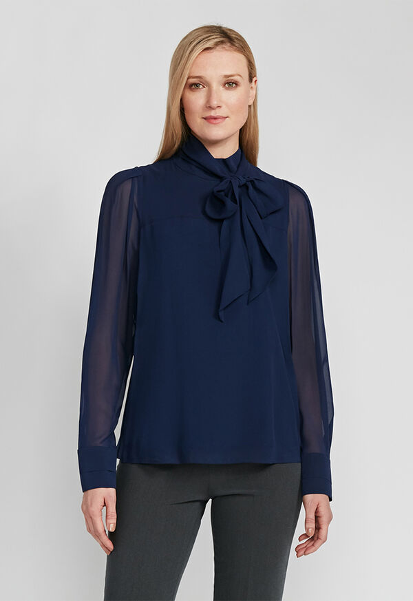 Tie Front Silk Blouse, image 2