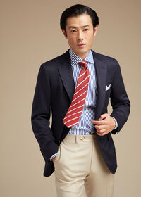Solid Navy Silk Sport Jacket, thumbnail 2