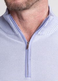 Two Color Rice Stitch 1/4 Zip Mock Neck Sweater, thumbnail 2