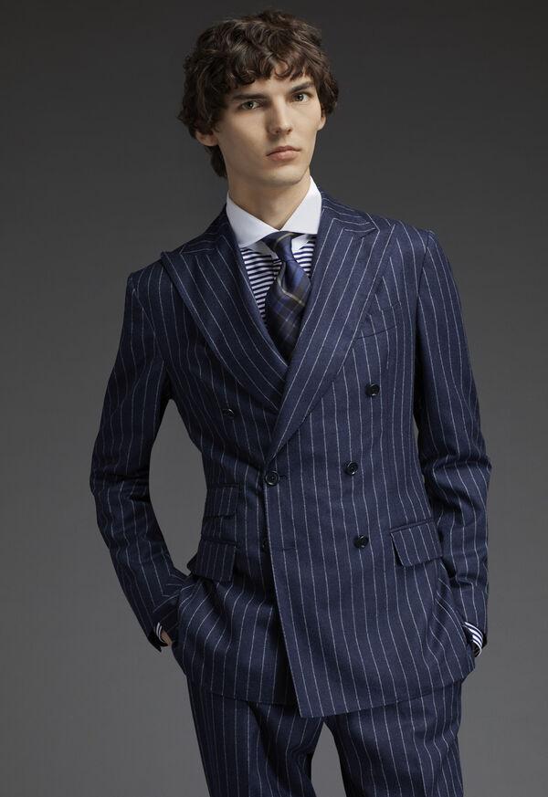 Round Collar Royal Blue Stripe Shirt, image 3