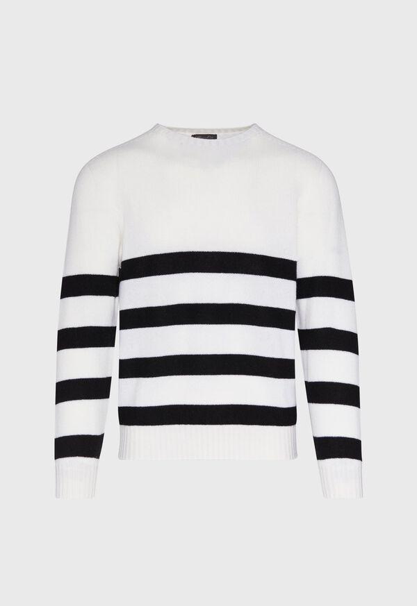 Black and White Cashmere Stripe Sweater