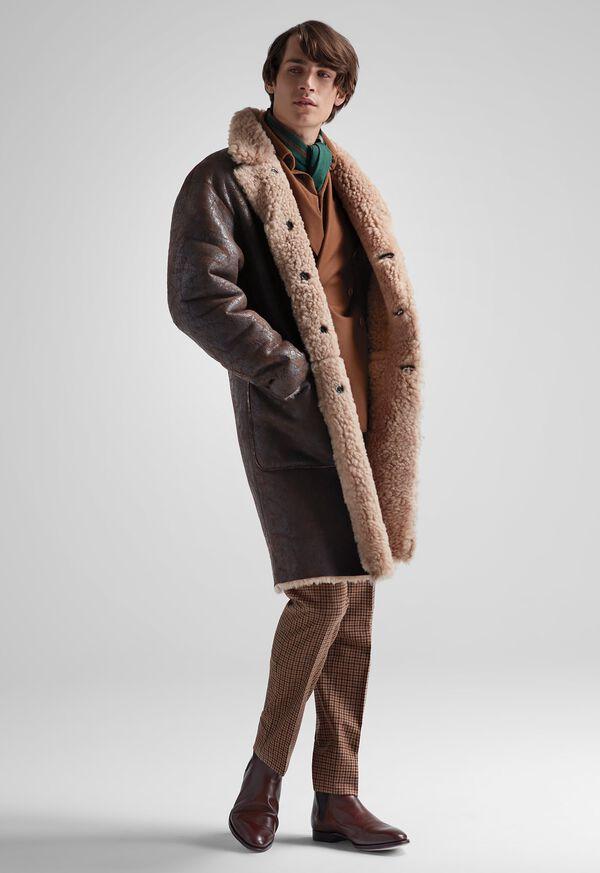 FW21 Paul Stuart Catalog Reversible Lambskin Shearling Coat Look, image 1