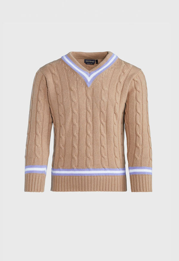 V-neck Cable Knit Sweater, image 1