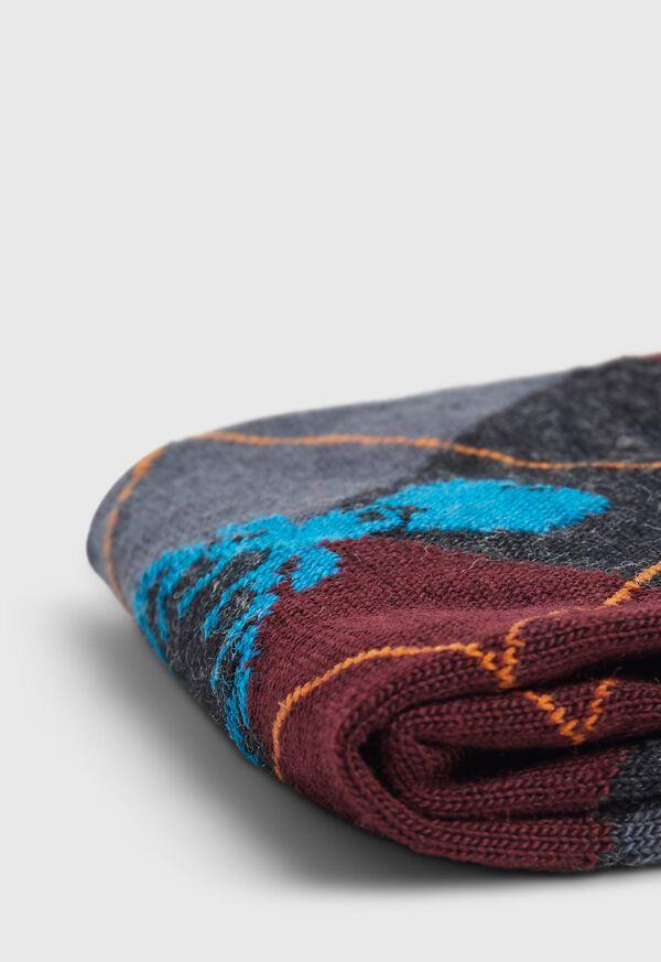 Deerhead Motif Argyle Wool Sock, image 2