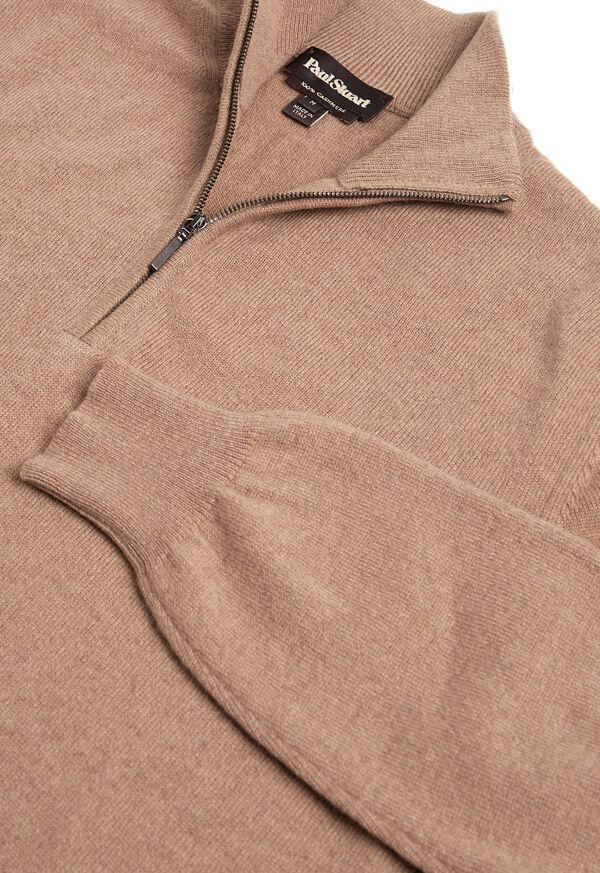 Cashmere Quarter Zip Mock Sweater, image 2