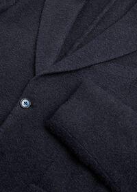 Solid Navy Fuzzy Soft Jacket, thumbnail 2