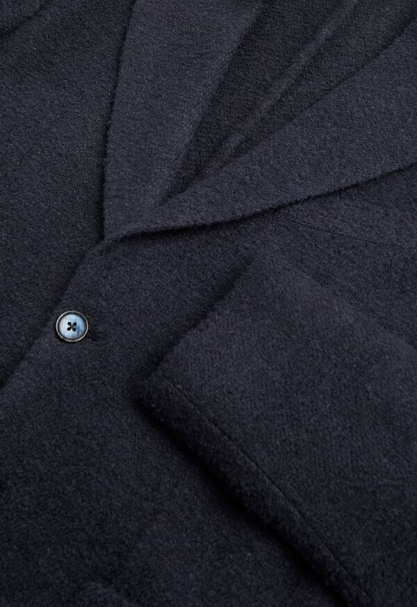Solid Navy Fuzzy Soft Jacket, image 2