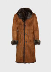 Leather Brown Long Coat, thumbnail 1