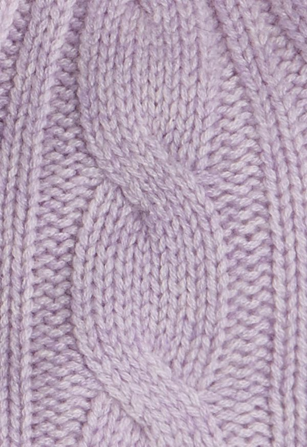 Cashmere Cable Knit Hat with Fur Pom, image 2