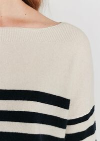Striped Boatneck Cashmere Sweater, thumbnail 3
