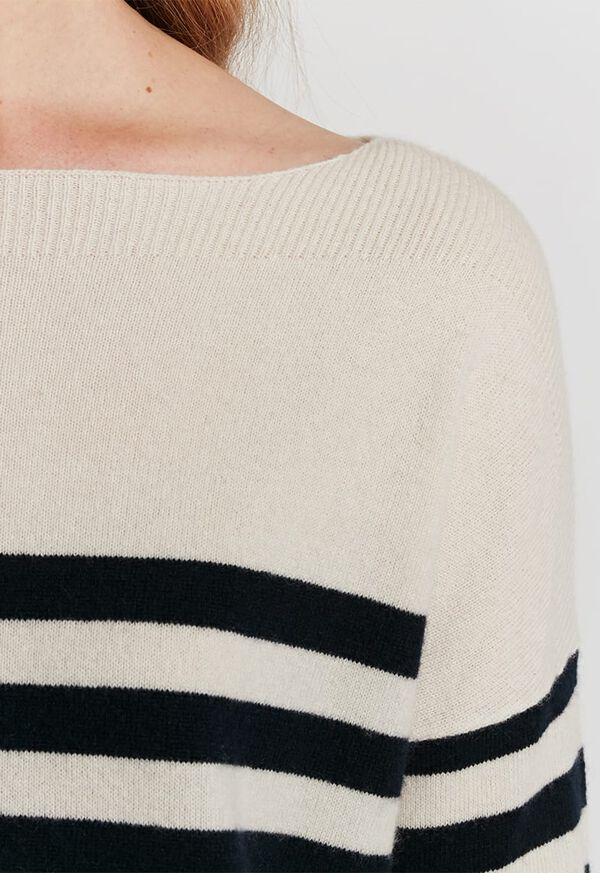 Striped Boatneck Cashmere Sweater, image 3