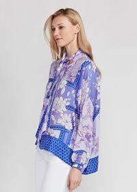 Floral Tie Front Silk Blouse, thumbnail 2