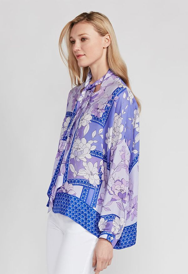 Floral Tie Front Silk Blouse, image 2