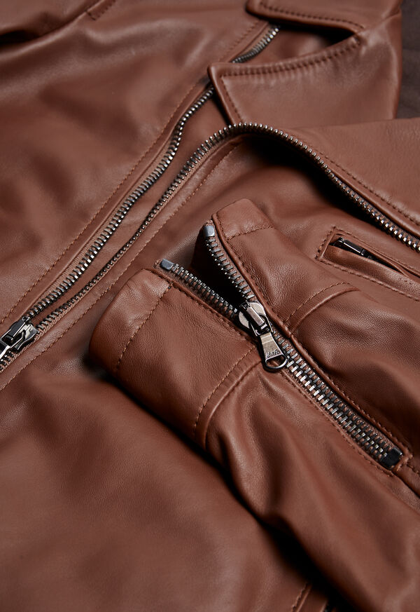 Leather Embroidered Motorcycle Jacket, image 4