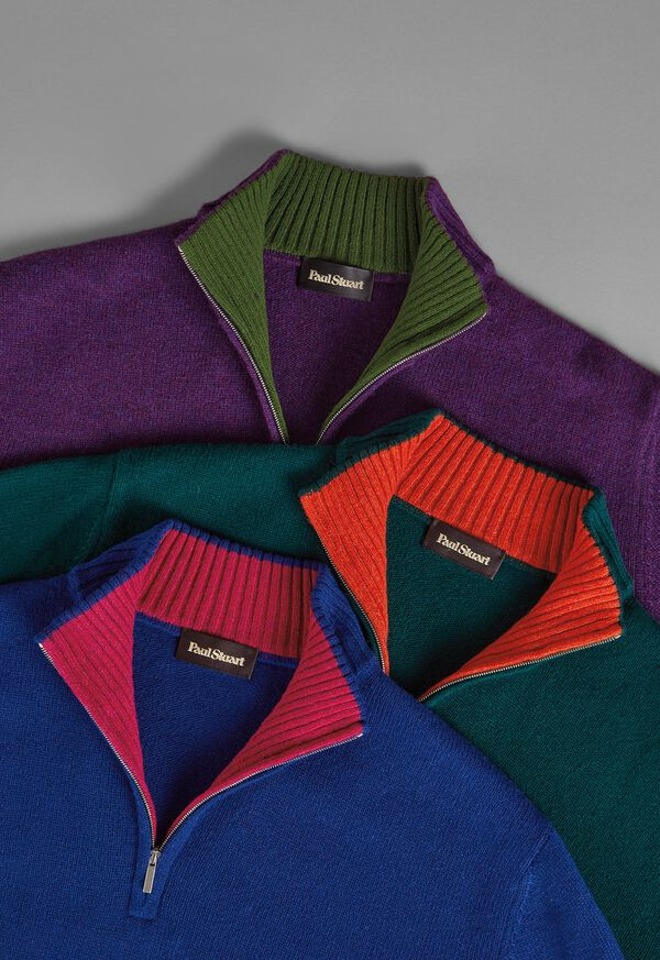 FW21 Paul Stuart Catalog Contrast Collar 1/4 Zip Sweaters, image 1
