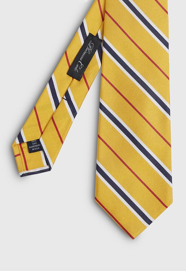 Silk Yellow Deco stripe Skinny Tie, image 1
