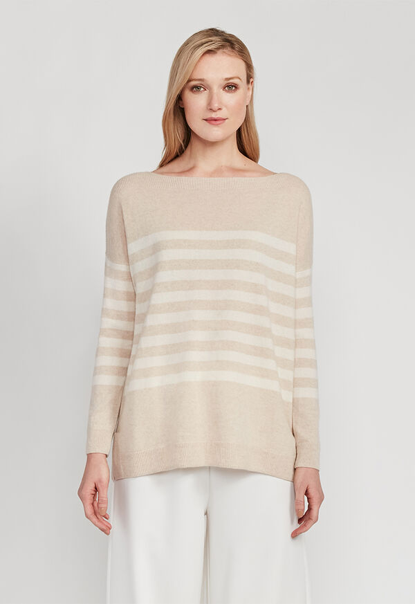 Striped Boatneck Cashmere Sweater, image 1