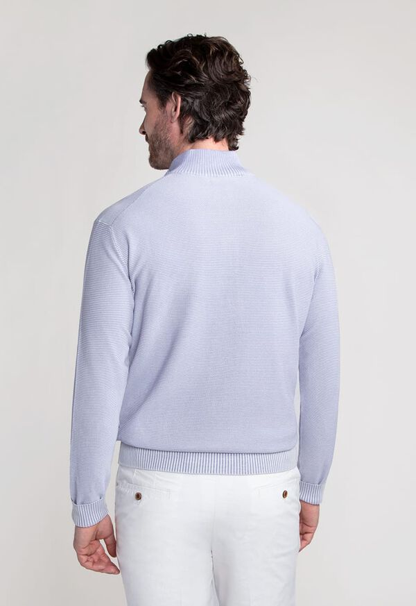 Two Color Rice Stitch 1/4 Zip Mock Neck Sweater, image 3
