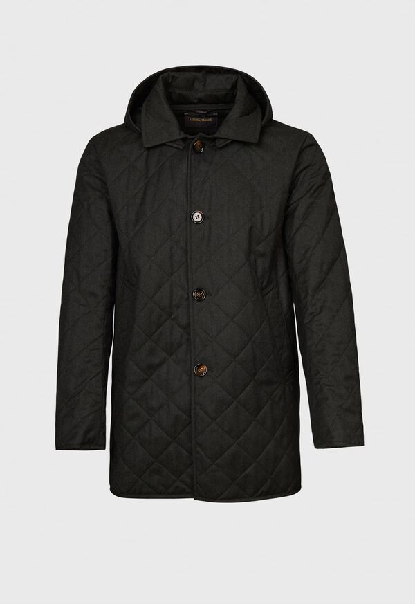 Quilted Barn Coat with Hood