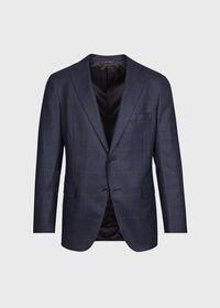 Navy Plaid Soft Shoulder Suit, thumbnail 2