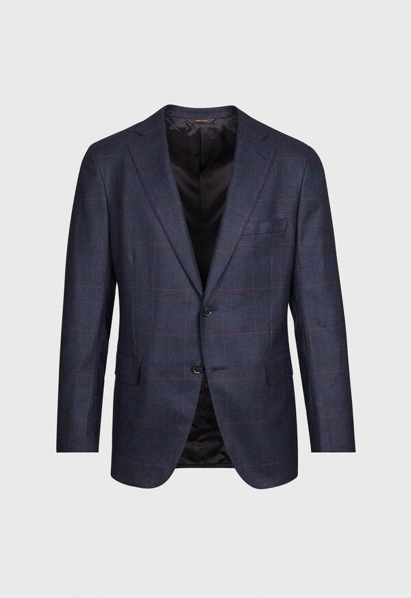 Navy Plaid Soft Shoulder Suit, image 2